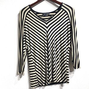 Cable and Gauge | 3/4 Sleeve Striped Top Sz M